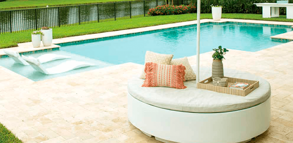 Round sun bed. In-Pool furniture collection by GodoPools
