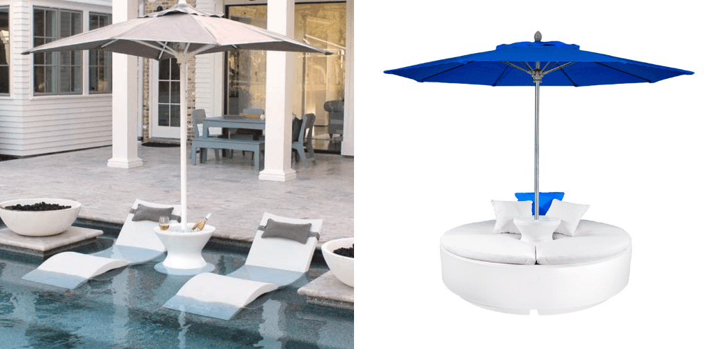 Pool umbrellas. In-Pool Furniture Collection